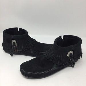 Minnetonka Black Genuine Suede Concho Fringe Boot